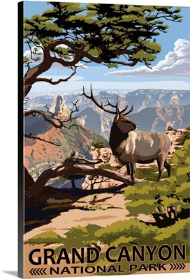 Grand Canyon National Park - Elk and Point Imperial: Retro Travel Poster