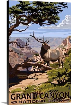 Grand Canyon National Park - Elk and South Rim: Retro Travel Poster