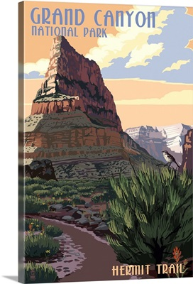 Grand Canyon National Park - Hermit Trail: Retro Travel Poster