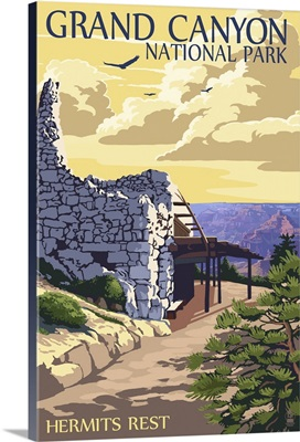 Grand Canyon National Park - Hermits Rest: Retro Travel Poster