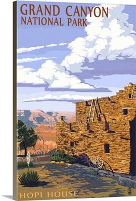 Grand Canyon National Park - Hopi House: Retro Travel Poster