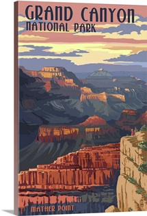 Grand Canyon National Park - Mather Point: Retro Travel Poster