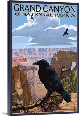 Grand Canyon National Park - Ravens and Angels Window: Retro Travel Poster
