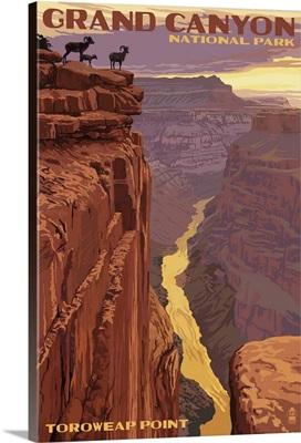 Grand Canyon National Park - Toroweap Point: Retro Travel Poster