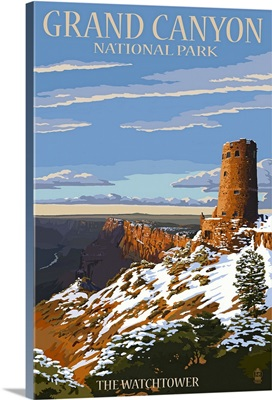 Grand Canyon National Park - Watchtower and Snow: Retro Travel Poster