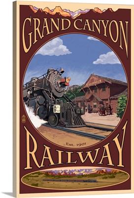 Grand Canyon Railway, Arizona: Retro Travel Poster