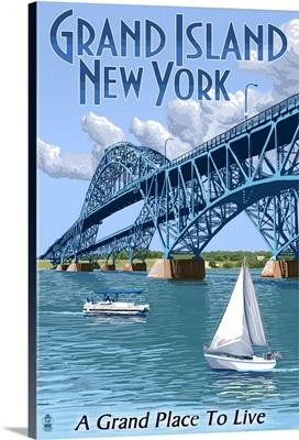 Grand Island, New York - Bridge Scene: Retro Travel Poster