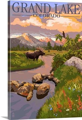 Grand Lake, Colorado - Moose and Meadow: Retro Travel Poster