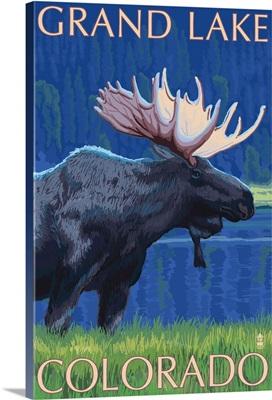 Grand Lake, Colorado - Moose at Night: Retro Travel Poster
