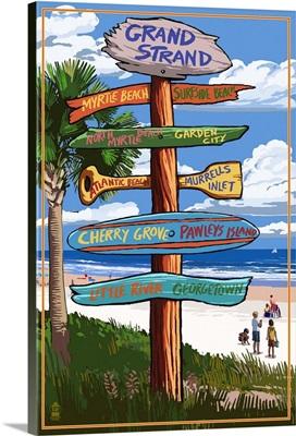 Grand Strand, South Carolina - Sign Destinations: Retro Travel Poster