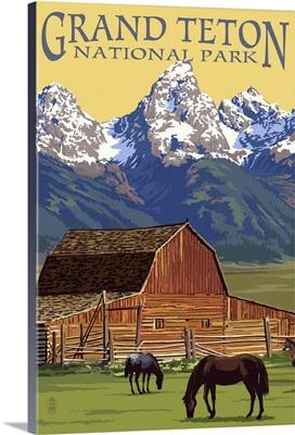 Grand Teton National Park - Barn and Mountains: Retro Travel Poster