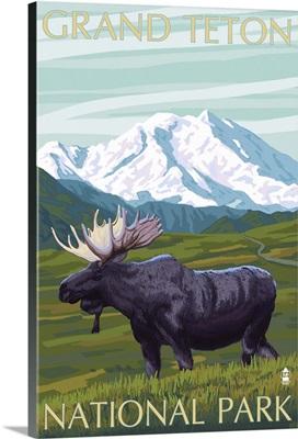 Grand Teton National Park - Moose and Mountain: Retro Travel Poster