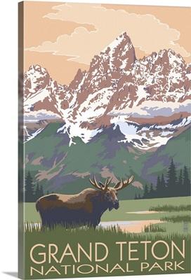 Grand Teton National Park - Moose and Mountains: Retro Travel Poster