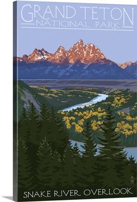 Grand Teton National Park - Snake River Overlook: Retro Travel Poster