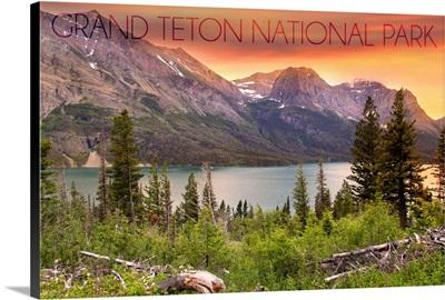 Grand Teton National Park, Wyoming, Lake and Peaks at Sunset