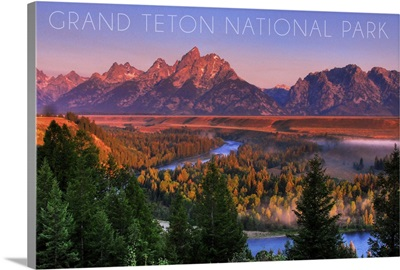 Grand Teton National Park, Wyoming, Sunset River and Mountains