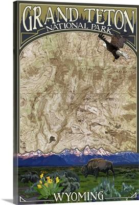 Grand Teton National Park, Wyoming - Topographical Map: Retro Travel Poster