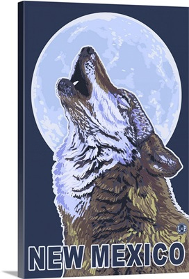 Gray Wolf Howling - New Mexico: Retro Travel Poster