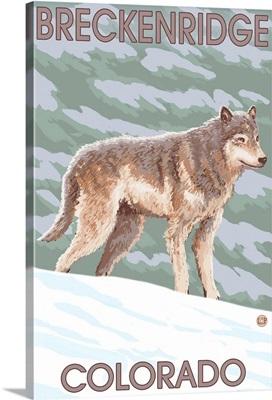Gray Wolf Standing - Breckenridge, Colorado: Retro Travel Poster