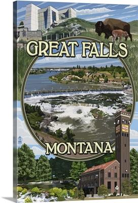 Great Falls, Montana - Montage: Retro Travel Poster