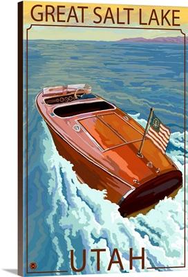 Great Salt Lake, Utah - Chris Craft Boat: Retro Travel Poster