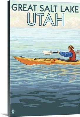 Great Salt Lake, Utah - Kayak Scene: Retro Travel Poster
