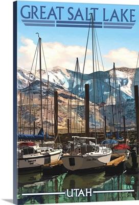 Great Salt Lake, Utah - Marina: Retro Travel Poster
