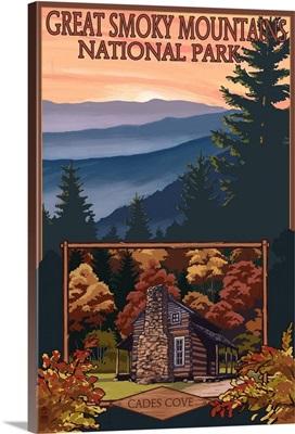 Great Smoky Mountains - Cades Cove: Retro Travel Poster