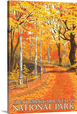 Great Smoky Mountains National Park, Tennessee - Fall Colors: Retro Travel Poster