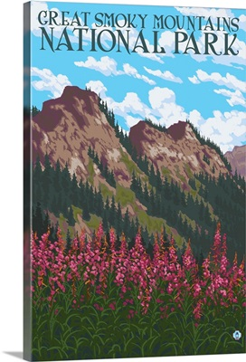 Great Smoky Mountains National Park, Tennessee - Fireweeds: Retro Travel Poster