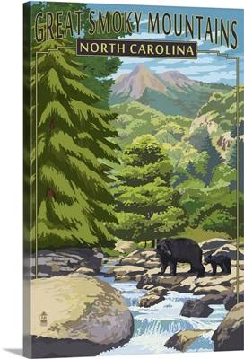 Great Smoky Mountains, North Carolina - Bear Family and Creek: Retro Travel Poster