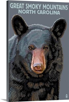 Great Smoky Mountains, North Carolina - Black Bear Up Close: Retro Travel Poster