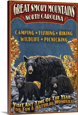 Great Smoky Mountains, North Carolina - Black Bears Vintage Sign: Retro Travel Poster