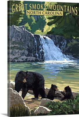 Great Smoky Mountains, North Carolina - Falls -  : Retro Travel Poster