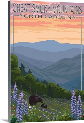 Great Smoky Mountains, North Carolina - Spring Flowers and Bears: Retro Travel Poster
