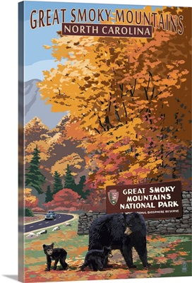 Great Smoky Mountains - Park Entrance and Bear Family- : Retro Travel Poster