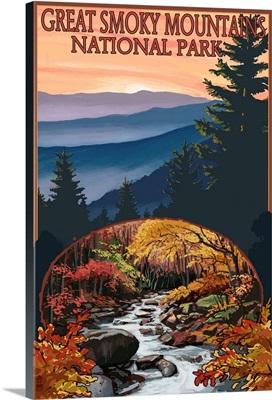 Great Smoky Mountains - Waterfall: Retro Travel Poster