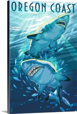 Great White Shark - Oregon Coast: Retro Travel Poster