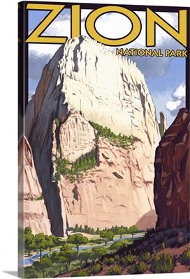 Great White Throne - Zion: Retro Travel Poster