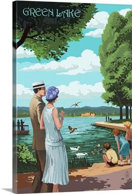 Green Lake Pathway - Seattle, Washington: Retro Travel Poster