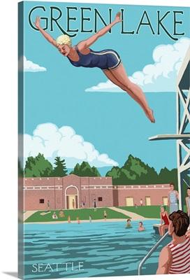 Green Lake Woman Diving - Seattle, Washington: Retro Travel Poster