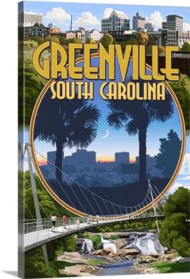 Greenville, South Carolina - Montage: Retro Travel Poster