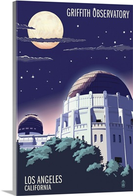 Griffith Observatory at Night - Los Angeles, California: Retro Travel Poster