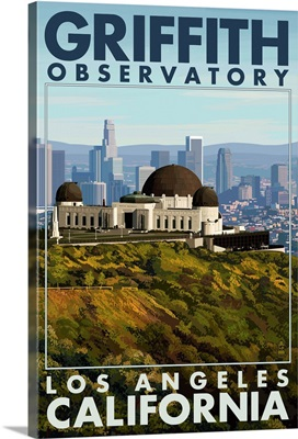Griffith Observatory Day Scene - Los Angeles, California: Retro Travel Poster