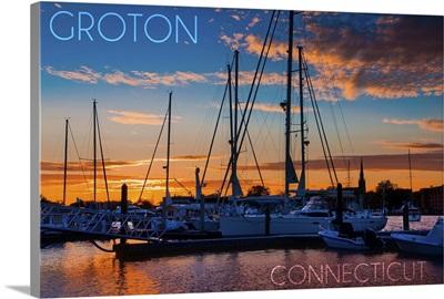 Groton, Connecticut, Sailboats at Sunset