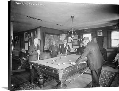 Group of Gentlemen Playing Pool at Billiards Hall