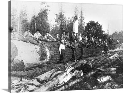 Group of Lumberjacks on Large Log, Cascades, WA