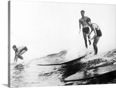 Group of Surfers in Honolulu, Hawaii