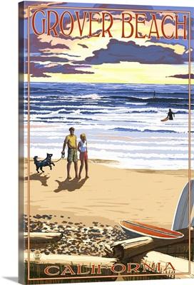 Grover Beach, California - Sunset Beach Scene: Retro Travel Poster