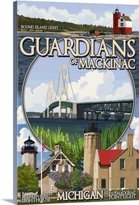 Guardians of Mackinac, Michigan - Montage Scenes: Retro Travel Poster